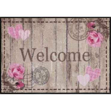 Salonloewe Fußmatte waschbar Cottage Chic Welcome Roses 50x75 cm SLD1104-050x075