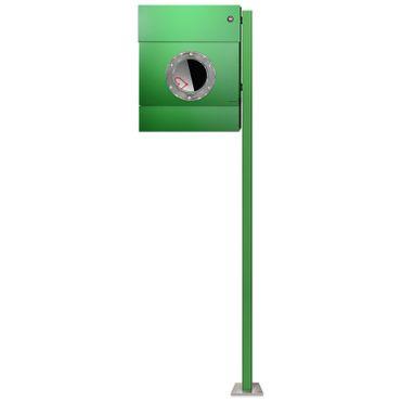 Radius Standbriefkasten Letterman 2 grün Zeitungsrolle mit LED-Klingel rot mit Pfosten - 564 B KR
