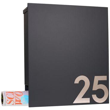 Design-Briefkasten mit Zeitungsfach schwarz (RAL 9005) MOCAVI Box 111 Wandbriefkasten 12 Liter – Bild 2