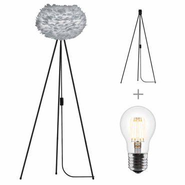Umage / VITA Stehleuchte Eos light grey für A++ bis E inkl. Tripod schwarz und LED A+ D 45 cm Tripod H 109 cm Lampe