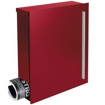 Design-Briefkasten mit Zeitungsfach purpur-rot (RAL 3004) MOCAVI Box 110 12 Liter Wandbriefkasten