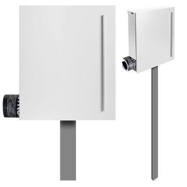 MOCAVI SBox 110b Standbriefkasten mit Zeitungsfach weiß (RAL 9003) Design-Briefkasten mit Fuß (einbetonieren) freistehend