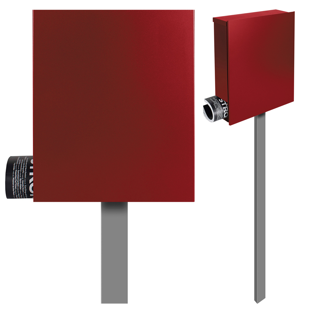 standbriefkasten mit zeitungsfach rubin rot ral 3003 mocavi sbox 111b briefkasten mit pfosten. Black Bedroom Furniture Sets. Home Design Ideas
