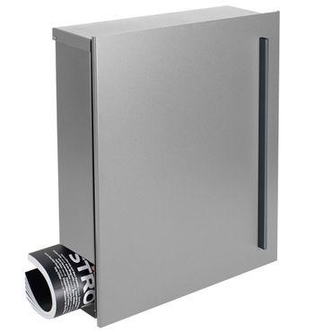 MOCAVI Box 115 Design-Briefkasten mit Zeitungsfach silber (weißaluminium RAL 9006) 38 x 45 cm Wandbriefkasten 12 Liter Postkasten