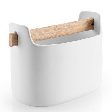 Eva Solo Toolbox niedrig 15 cm Keramik weiß mit Eichenholz Griff