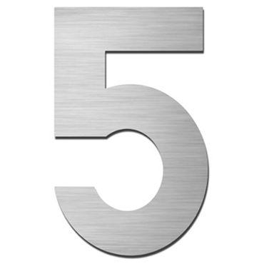 Serafini Hausnummer 5 Edelstahl V4A selbstklebend Höhe 15 cm
