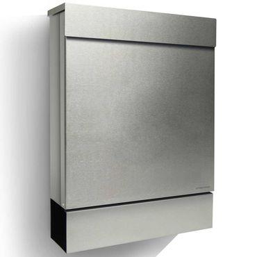 Letterman M Radius Design-Briefkasten Edelstahl mit Zeitungsfach, moderner Postkasten mit Zeitungsrolle und Einwurf oben