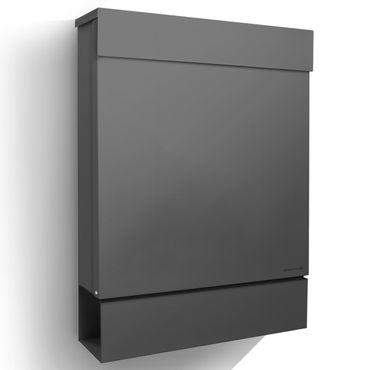 Letterman M anthrazit-grau (RAL 7016) Radius Design-Briefkasten mit Zeitungsfach, Postkasten dunkelgrau Brief-Einwurf oben