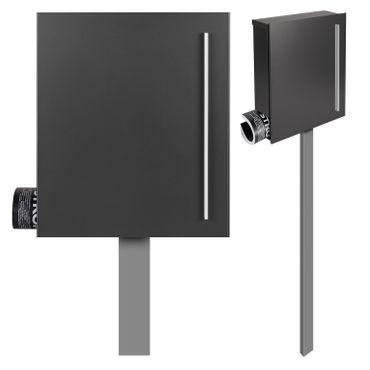MOCAVI SBox 110b Standbriefkasten mit Zeitungsfach anthrazit-eisenglimmer (DB 703) Design-Briefkasten mit Fuß (einbetonieren) freistehend – Bild 1