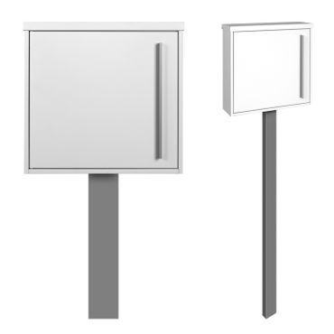 MOCAVI Sbox 101b Standbriefkasten signal-weiss (RAL 9003) Design-Postkasten freistehend mit Pfosten silber (RAL 9006, betonieren)