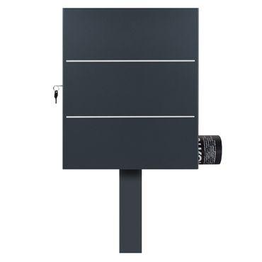 Standbriefkasten mit Zeitungsfach anthrazit-grau (RAL 7016) MOCAVI SBox 141R b Briefkasten mit Pfosten (einbetonieren) – Bild 2