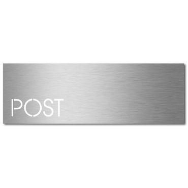 MOCAVI Stick 350 Briefkastenschild mit Post-Schriftzug Edelstahl V4A, selbstklebend, modernes Design