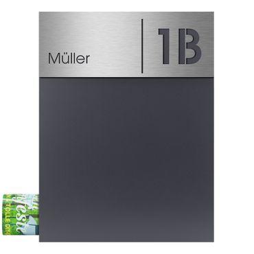 MOCAVI Box 500 Design-Briefkasten mit Zeitungsfach anthrazit (RAL 7016) inkl. Edelstahl-Schild mit Namen und Hausnummer