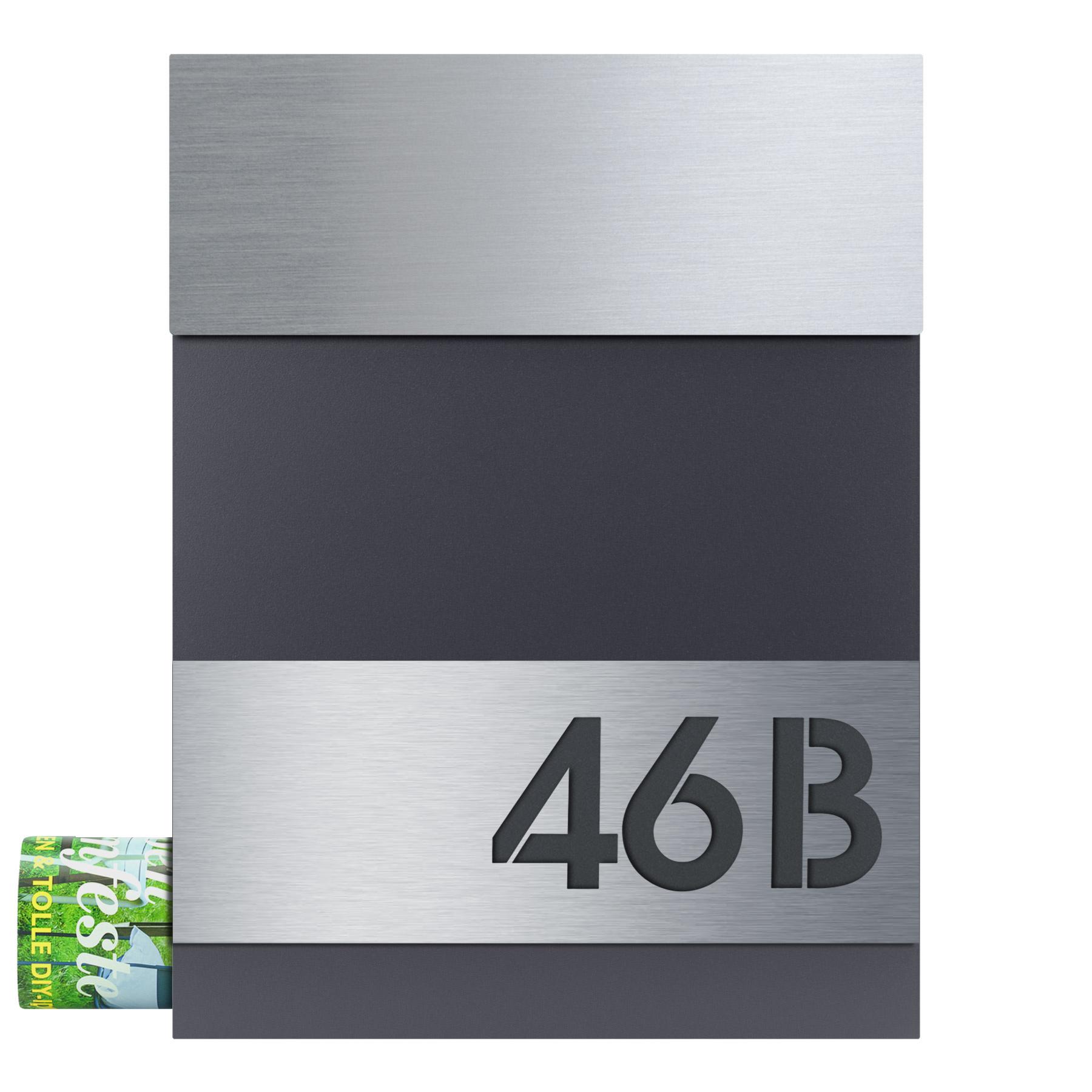 MOCAVI Box 510 Design-Briefkasten anthrazit (RAL 7016) mit ...