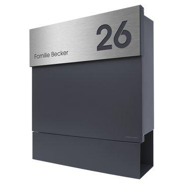 Letterman 5 Radius Design Briefkasten mit Zeitungsfach anthrazit-grau (RAL  7016), moderner Wand-Postkasten