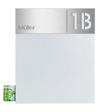 MOCAVI Box 111 Briefkasten weiß mit Zeitungsfach, Hausnummer und Name V4A-Edelstahl Schild – Bild 2