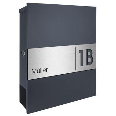 MOCAVI Box 111R Briefkasten mit Name und Hausnummer graviert V4A-Edelstahl / anthrazit RAL 7016 Zeitungsfach inkl. Gravur – Bild 8