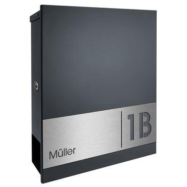 MOCAVI Box 111R Briefkasten mit Name und Hausnummer graviert V4A-Edelstahl / anthrazit RAL 7016 Zeitungsfach inkl. Gravur – Bild 2