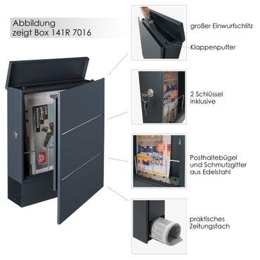 MOCAVI Box 141R  Briefkasten mit Name und Hausnummer graviert V4A-Edelstahl / anthrazit RAL 7016 Zeitungsfach inkl. Gravur – Bild 3