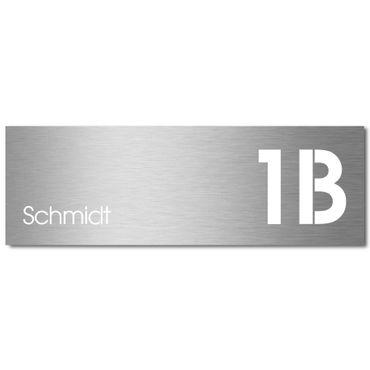 MOCAVI Stick 335 (für Box 141) Briefkastenschild mit Hausnummer und Namen Edelstahl V4A graviert & selbstklebend