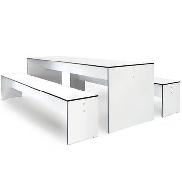 Conmoto Riva - Kombi S / 180 - Tisch und 2 Bänke - weiss - (ohne Auflagen) – Bild 1