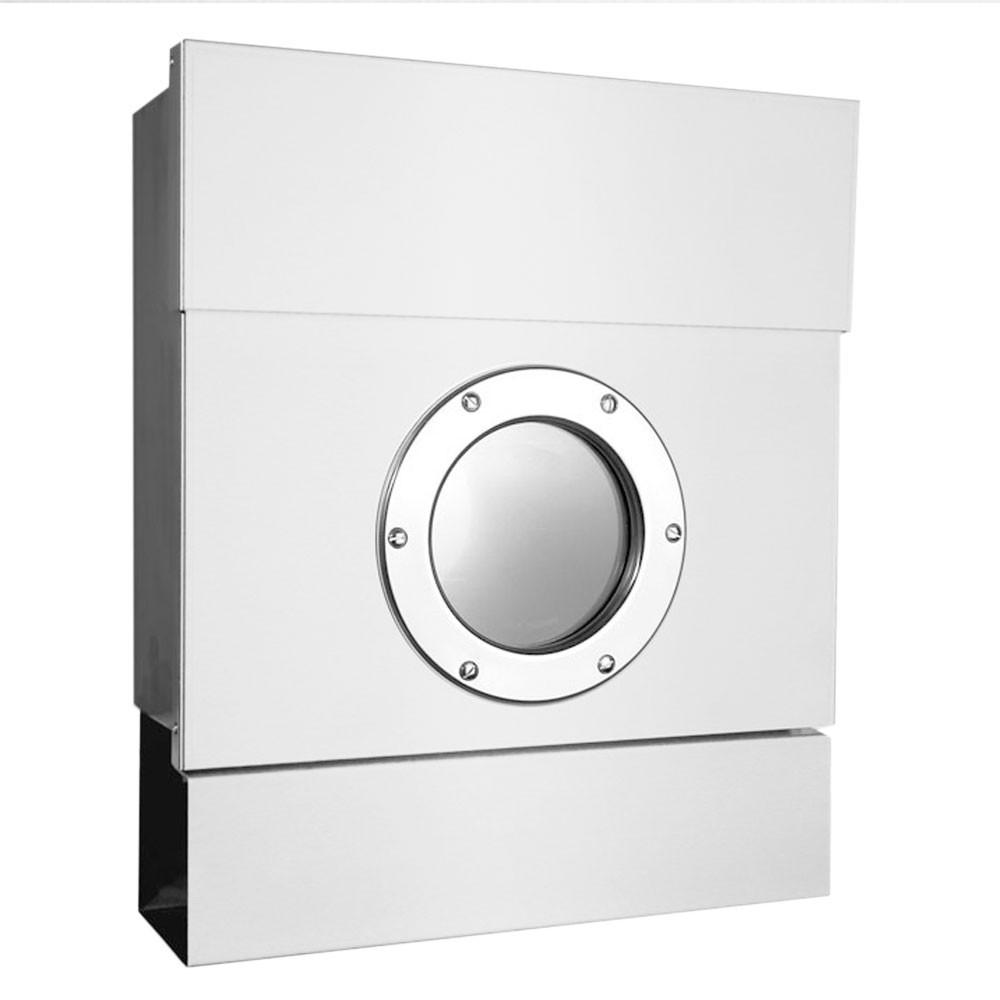 briefkasten letterman 2 ii weiss radius postkasten zeitungsrolle mit bullauge ebay. Black Bedroom Furniture Sets. Home Design Ideas