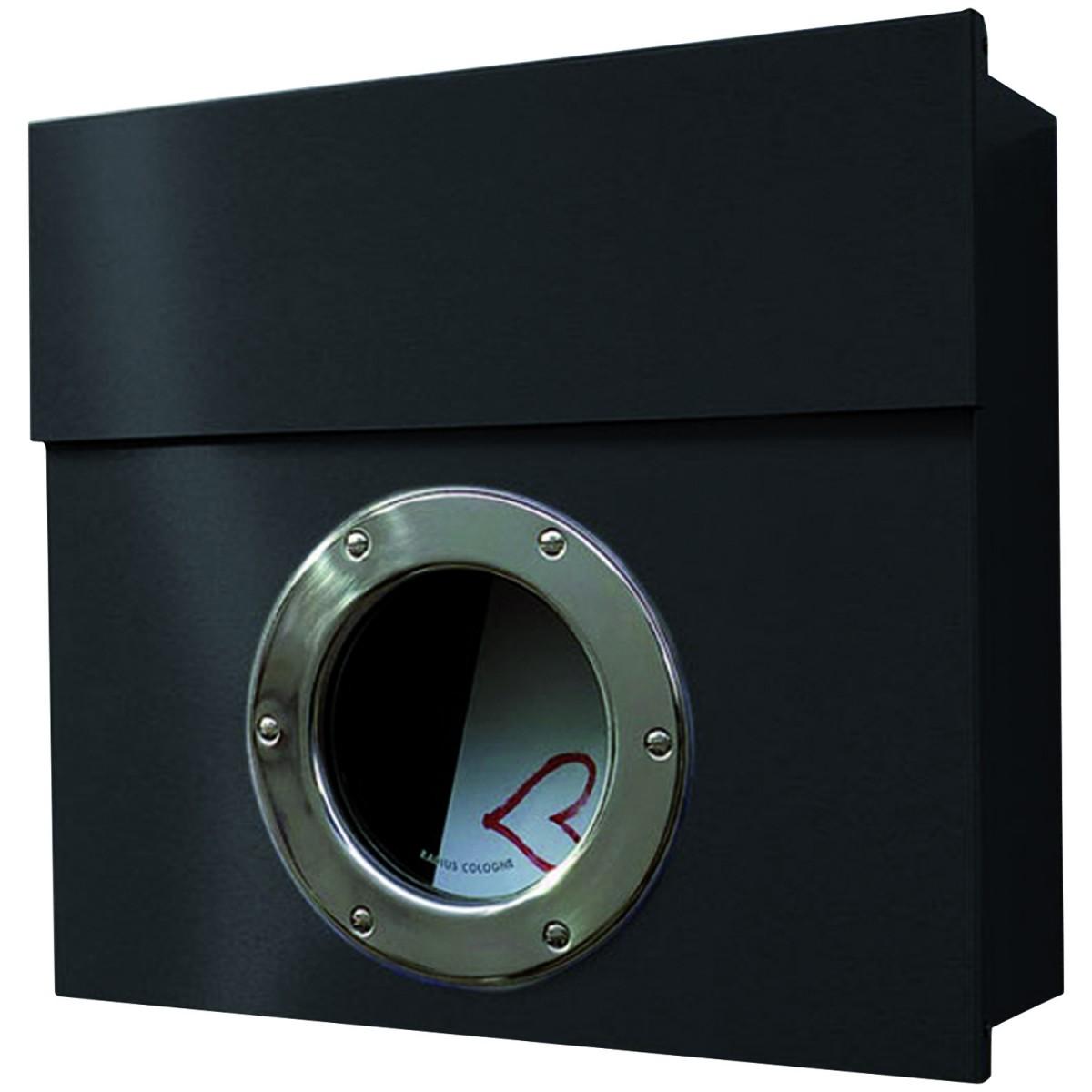 letterman 1 radius design briefkasten mit bullauge verdecktes schloss moderner wand postkasten. Black Bedroom Furniture Sets. Home Design Ideas