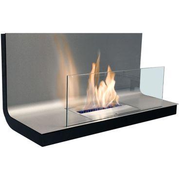 Wall Flame I schwarz Edelstahl gebürstet Biokamin - 536 a