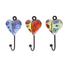 Wandhaken Schlüsselhaken Herzen aus Keramik und Metall 3er Set