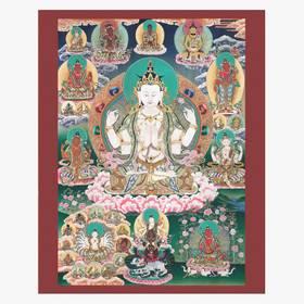 Thangka Bodhisattva Avalokitesvara Lokeshvar Reproduktion auf Fine-Art-Papier oder Leinwand