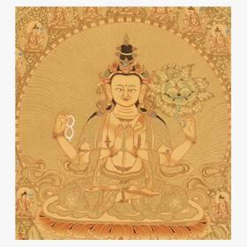 Thangka Bodhisattva Avalokitesvara Lokeshvar Gold Reproduktion auf Fine-Art-Papier oder Leinwand – Bild 2