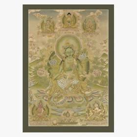 Thangka Grüne Tara Reproduktion auf Fine-Art-Papier oder Leinwand – Bild 4