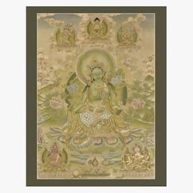 Thangka Grüne Tara Reproduktion auf Fine-Art-Papier oder Leinwand – Bild 1