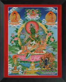Thangka Grüne Tara Reproduktion auf Fine-Art-Papier oder Leinwand – Bild 7