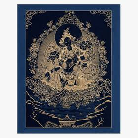 Thangka Grüne Tara auf schwarzen Grund Reproduktion aus Fine-Art-Papier oder Leinwand – Bild 1