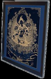 Thangka Grüne Tara auf schwarzen Grund Reproduktion aus Fine-Art-Papier oder Leinwand – Bild 6