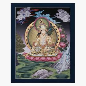 Weiße Tara Thangka Reproduktion auf Fine-Art-Papier oder Leinwandbild – Bild 1