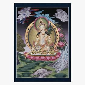 Weiße Tara Thangka Reproduktion auf Fine-Art-Papier oder Leinwandbild – Bild 3