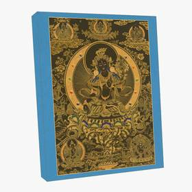 Thangka Weiße Tara auf schwarzen Grund Reproduktion auf Fine-Art-Papier oder Leinwand – Bild 3