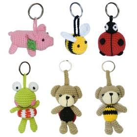 Schlüsselanhänger Biene, Schwein, Marienkäfer, Frosch, Bär aus Stoff gehäkelt Handarbeit  – Bild 1