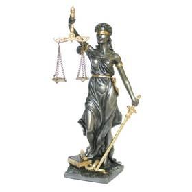 Justitia Göttin der Gerechtigkeit Richtschwert Waage bronziert