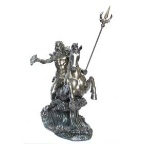 Figur Poseidon Gott des Meeres reitet auf Seepferd Bronzeoptik – Bild 2