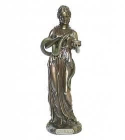 Figur Hygieia griechische Göttin der Heilung Hygiene Bronzeoptik