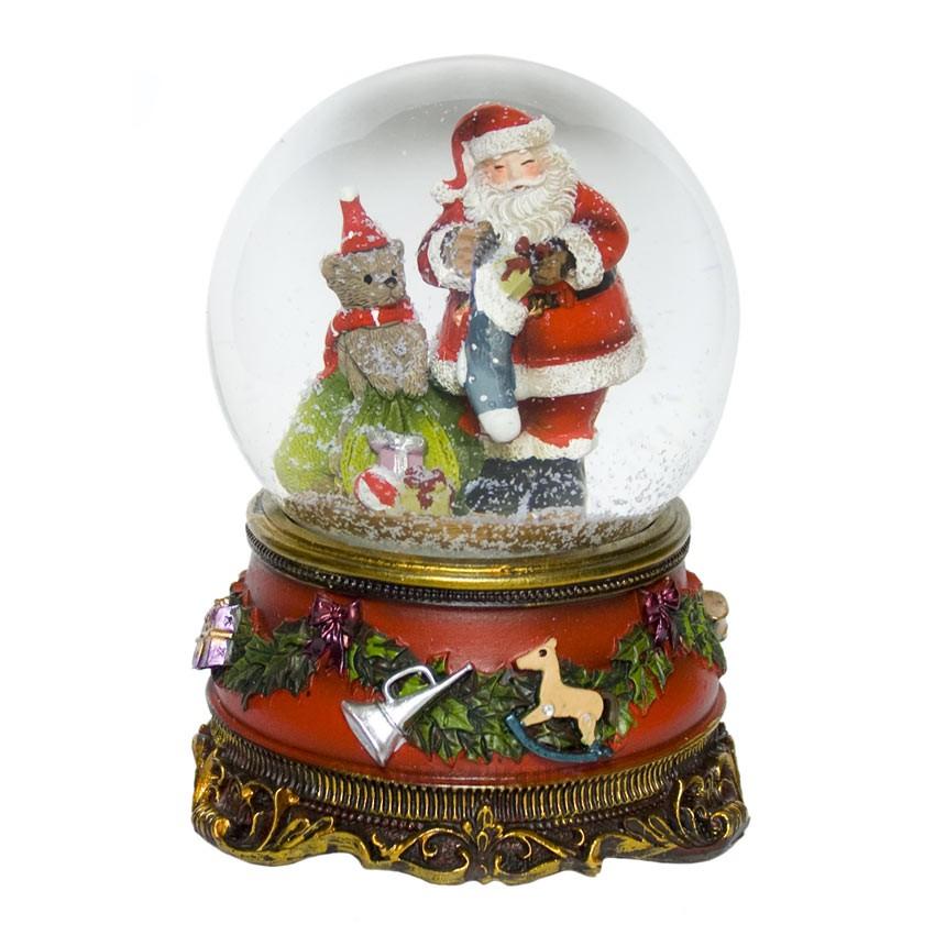 Spieluhr Weihnachten.Weihnachten Schneekugel Als Spieluhr We Wish You Mit Weihnachtsmann Schöne Edle Witzige Geschenkartikel Dekorationsartikel