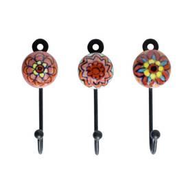 Wandhaken Schlüsselhaken Retro aus Keramik Metall im 3er Set