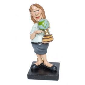 Lehrerin mit Globus Figur Berufe Funny Life Comic – Bild 1
