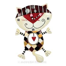 Wanduhr Katze Pendeluhr mit Herz Heart Of Checkers