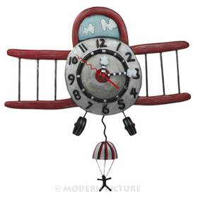 Wanduhr Flugzeug Fallschirmspringer Pendeluhr Airplane Jumper Clock Allen Designs
