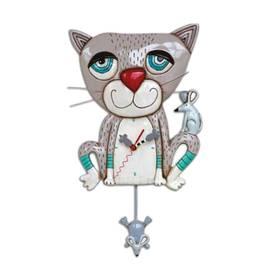 Wanduhr Pendeluhr Katze mit Maus Michelle Allen Designs