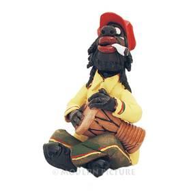 Räucherfigur Trommler Musiker Karibik Keramik Handarbeit